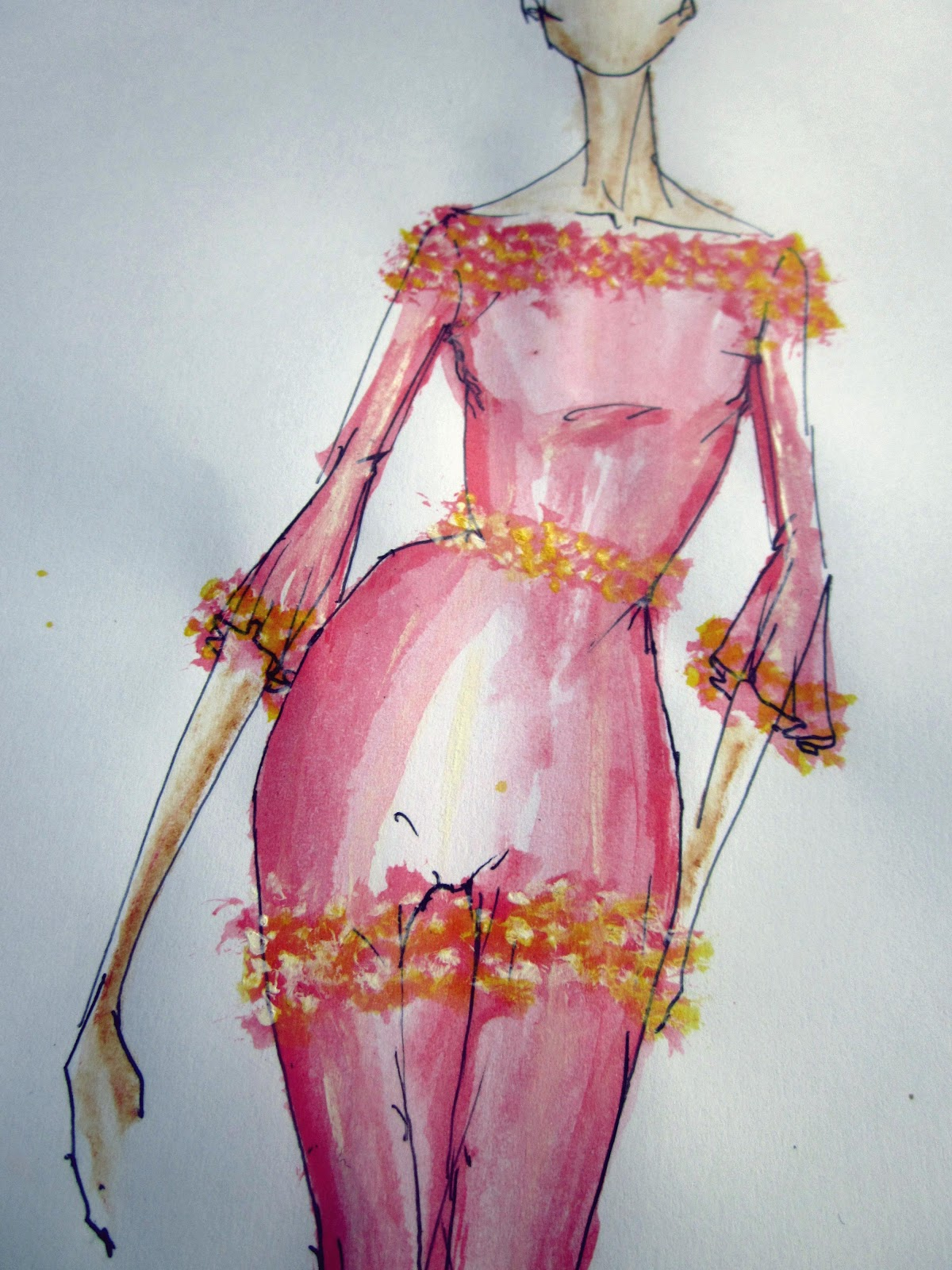 Pink dress drawing   best Fashion Sketches images on Pinterest  Fashion sketchbook