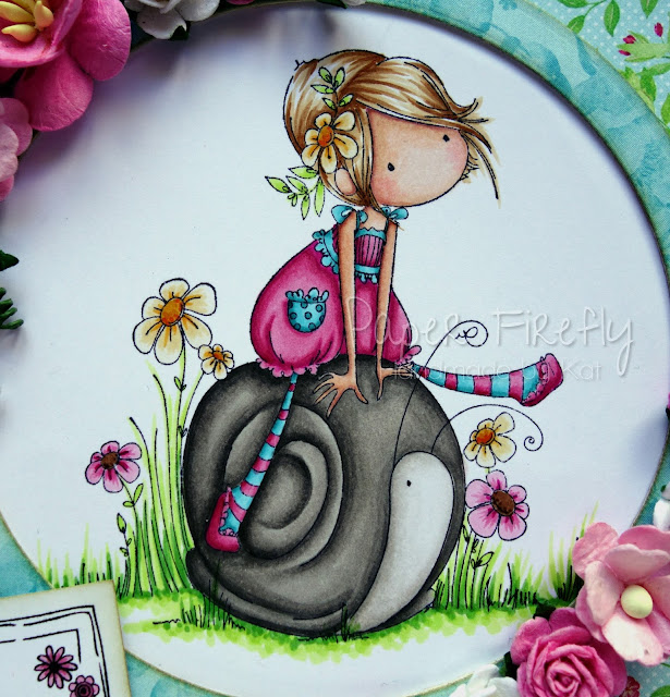 Bright and girly card using girl on snail image