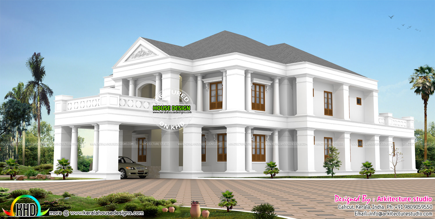 February 2016 kerala home design and floor plans for Colonial luxury house plans