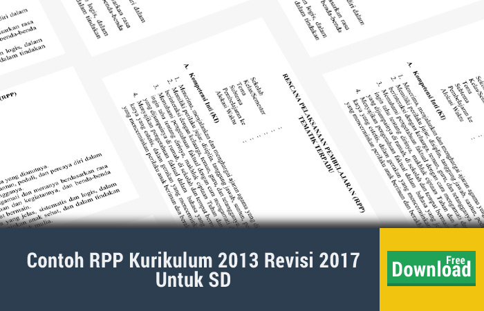 Contoh RPP Kurikulum 2013 Revisi 2017 Untuk SD