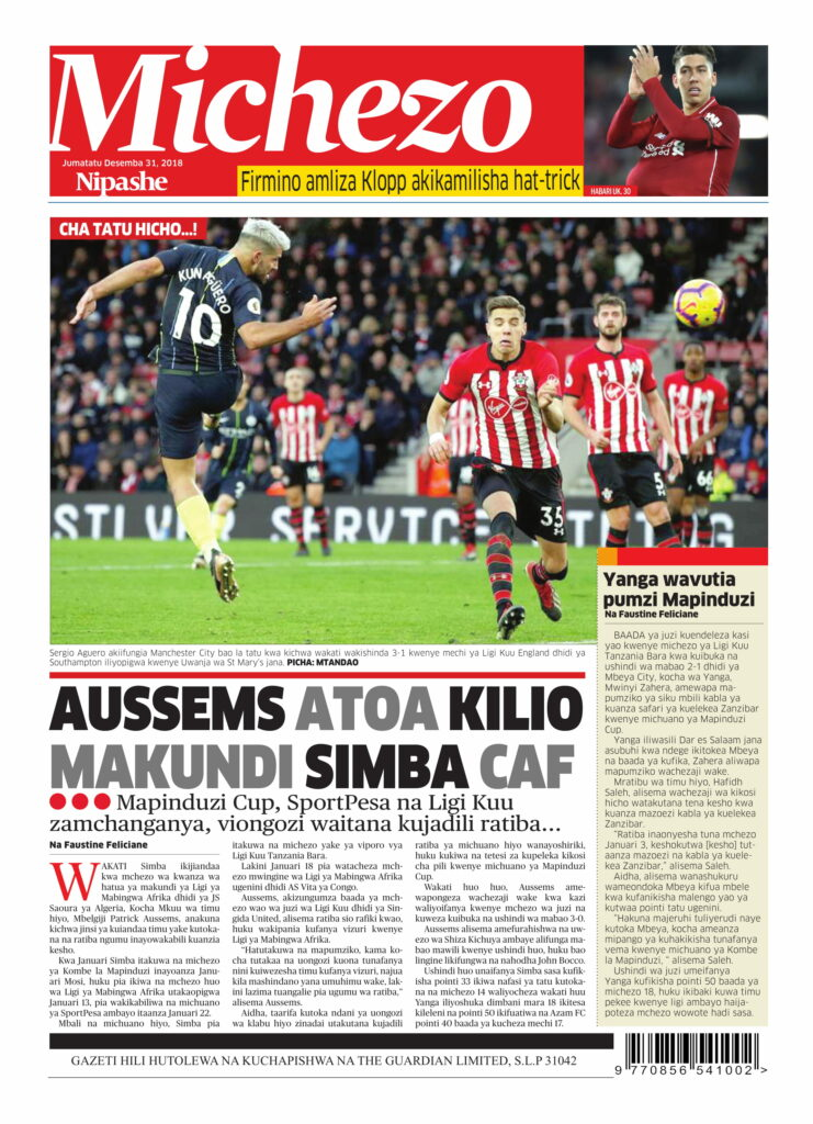 Tanzanian Today's Newspapers MAGAZETI YA LEO Monday 31st