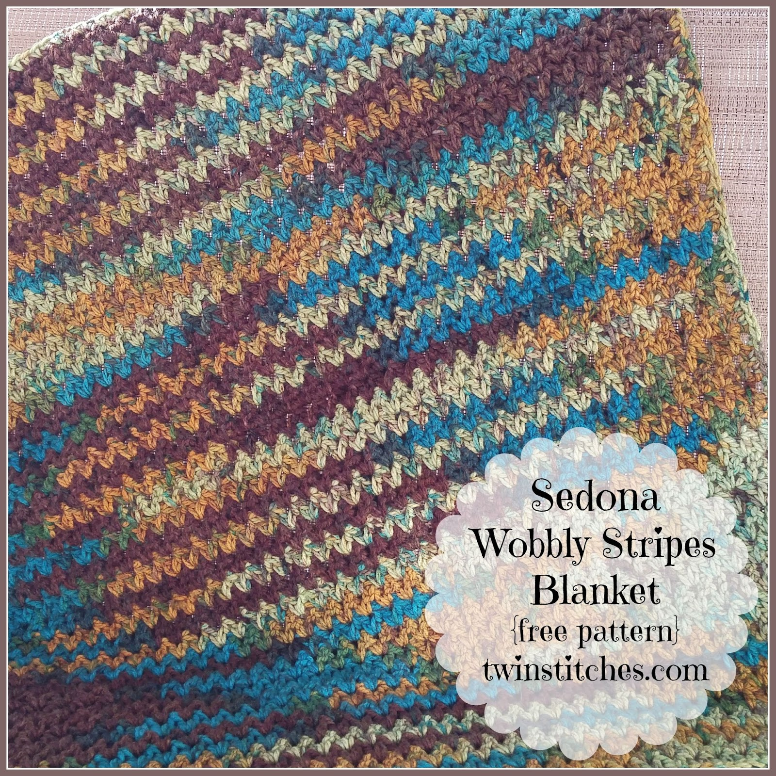 Tw-In Stitches: Sedona Wobbly Stripes Blanket - Free Pattern | Tw-In