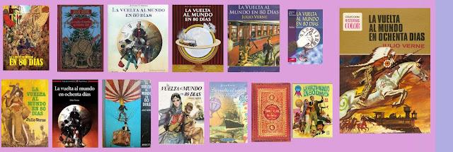 portadas de la novela clásica de aventuras La vuelta al mundo en ochenta días, de Julio Verne