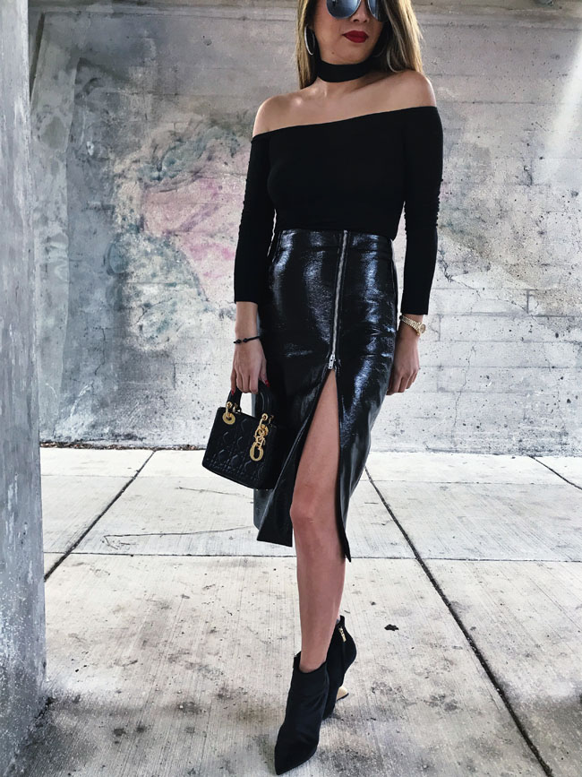 Black Vinyl Skirt, TopShop Black Pencil Skirt, Nordstrom Vinyl Skirt, Jennifer Worman, Chicago Style Blogger
