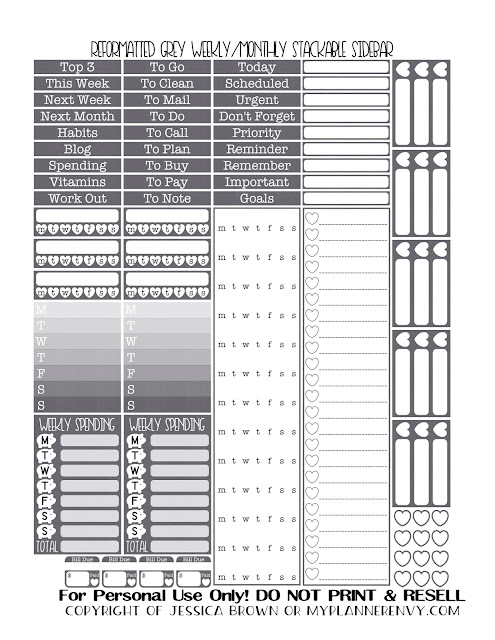 Free Printable Reformatted Weekly/Monthly Stackable Sidebar in Grey from myplannerenvy.com