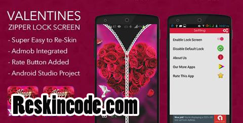 Valentines Zipper Lock Screen with Admob Android Codecanyon