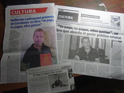Nota en el diario El LIbertador (Corrientes) acerca de la presentación del libro Yo gasto, tú gastas, ellos gastan, del Lic. Guillermo Lanfranconi.