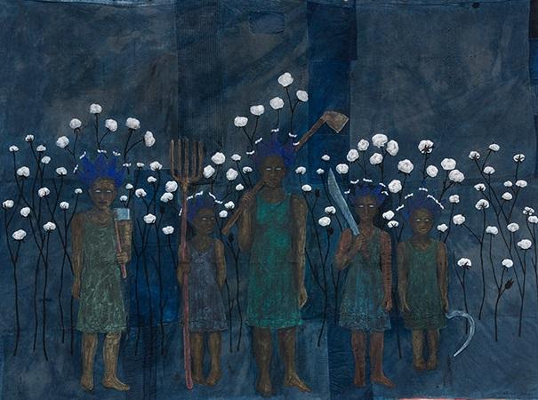 "Alison Saar, ""High Cotton (study)"", 2017 - acrylic painting | imagenes obras de arte, cuadros, pinturas chidas, bellas | art pictures, cool stuff"