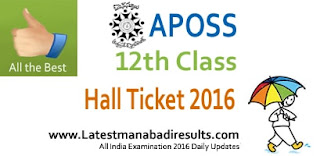 APOSS Inter Hallticket 2016 Download, APOSS 12th Class Hall Ticket April 2016, AP Open School Inter Exams 2016 Hall Ticket by Name wise / School wise