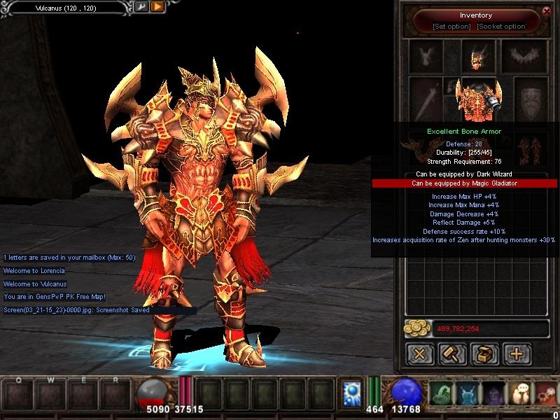 Imagen del skin dentro del juego Mu Online