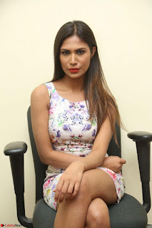 Nishi Ganda stunning cute in Flower Print short dress at Tick Tack Movie Press Meet March 2017 138.JPG