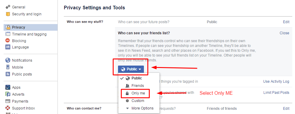 How to hide your friendlist on facebook app