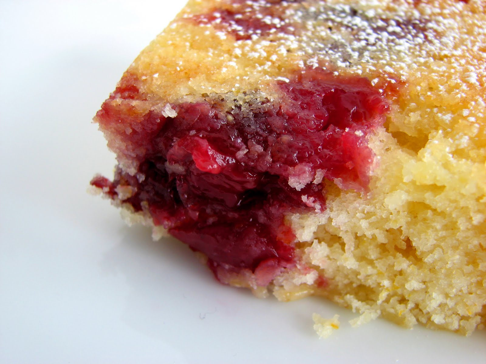 Cornmeal Cake with Balsamic Cherries