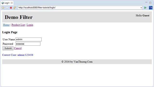 Demo Filter - Login Page