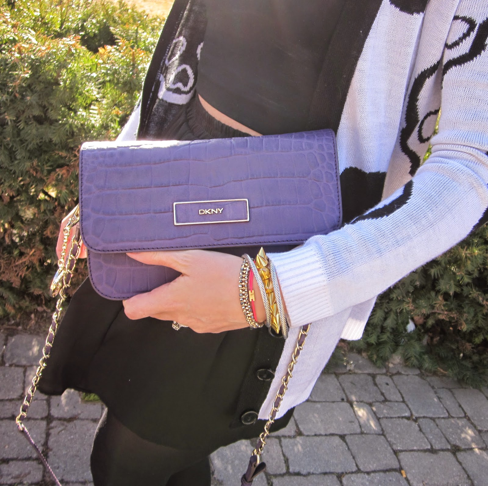 Purple DKNY purse, Black and leopard wedge boots