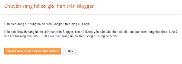 Chuyển sang hồ sơ giới hạn trên blogger
