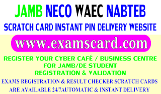 Buy NECO, WAEC,JAMB and NABTEB Scartch cards here