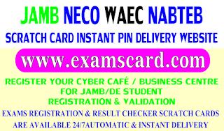Buy NECO, WAEC,JAMB and NABTEB Scartch cards here