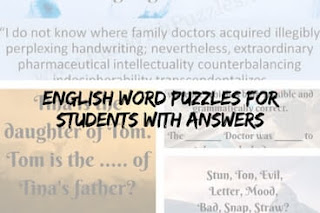 English Word Puzzles for students with answers