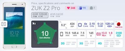 ZUK Z2 Pro Skor AnTuTu Benchmark 144.939