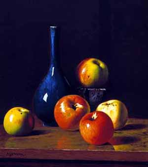Still Life Picture Apples and Cobalt Bottle