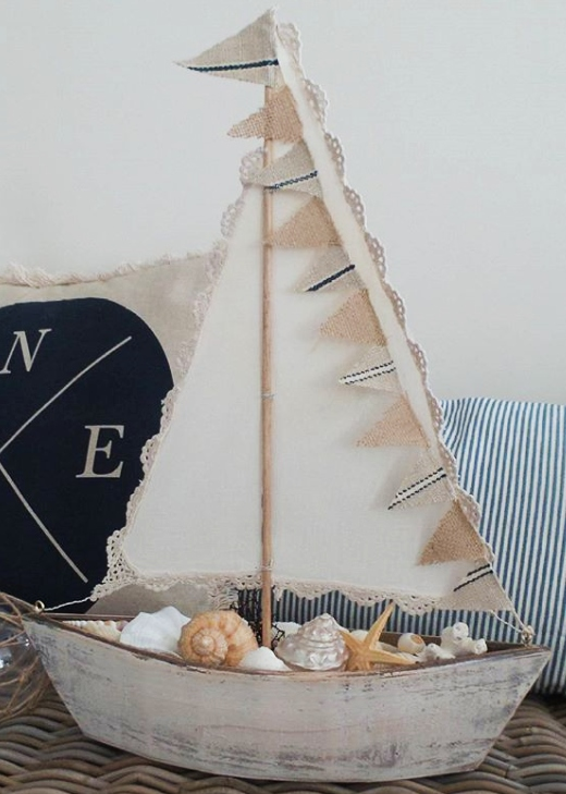Wooden Sailboat Used as Bowl