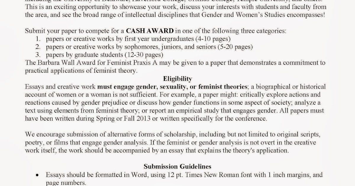 gender and women s studies call for papers