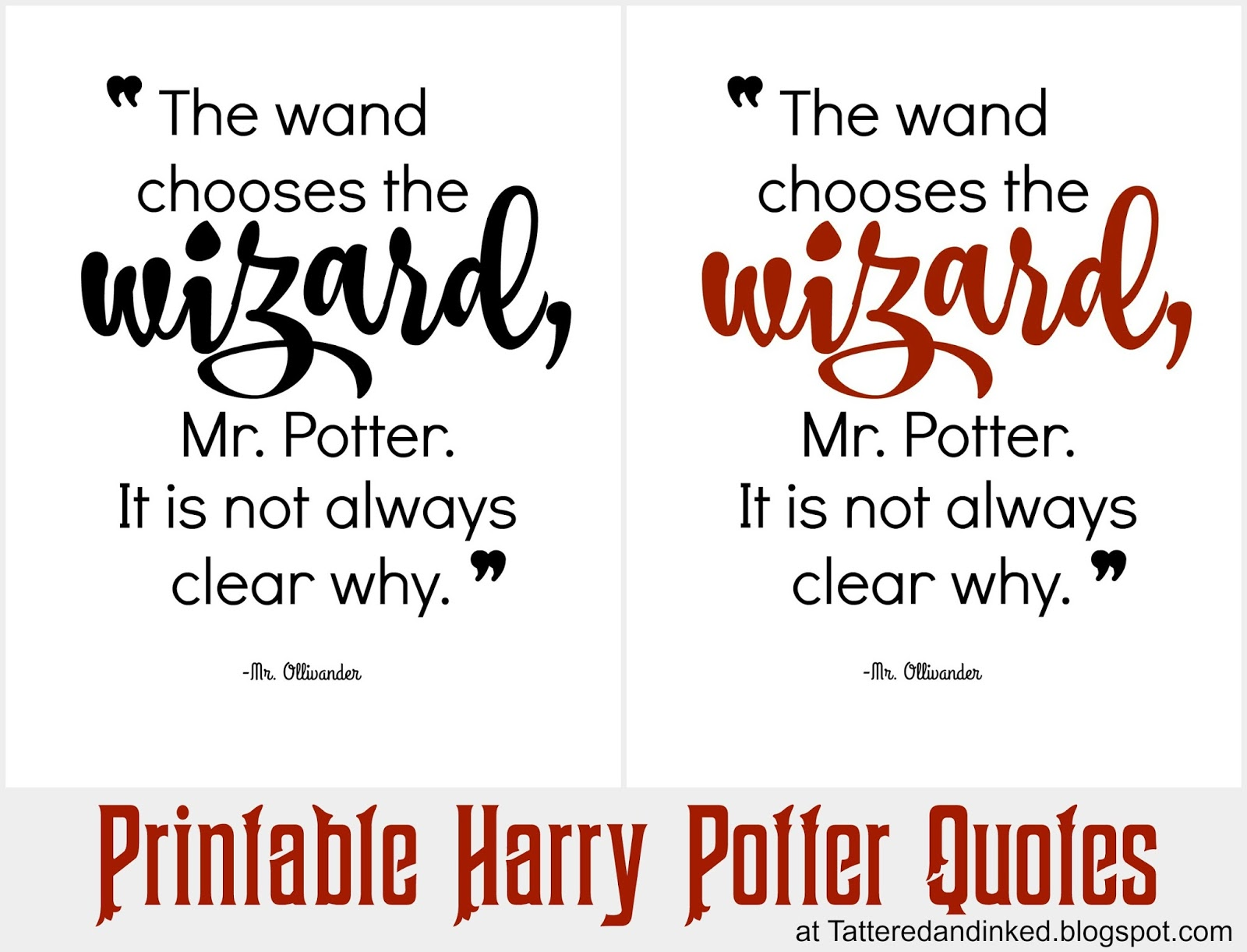 Tattered And Inked Harry Potter Party Free Printables And