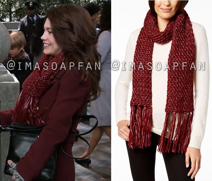 Elizabeth Webber, Rebecca Herbst, Oxblood Red Sparkle Knit Scarf, General Hospital, GH