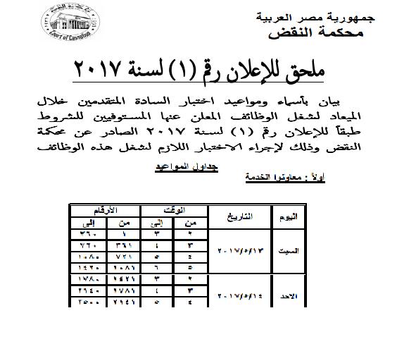 محكمة النقض تعلن عن اسماء ومواعيد اختبارات شغل الوظائف للاعلان رقم 1 لسنة 2017 وتبدأ الاختبارات يوم 13 مايو 2017