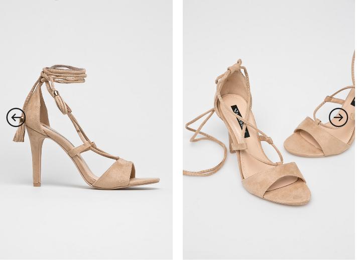Answear - Sandale bej elegante din piele eco intoarsa cu snur
