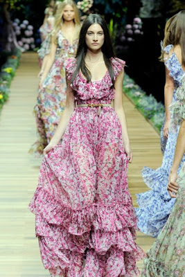 spring flower floor-length party dress