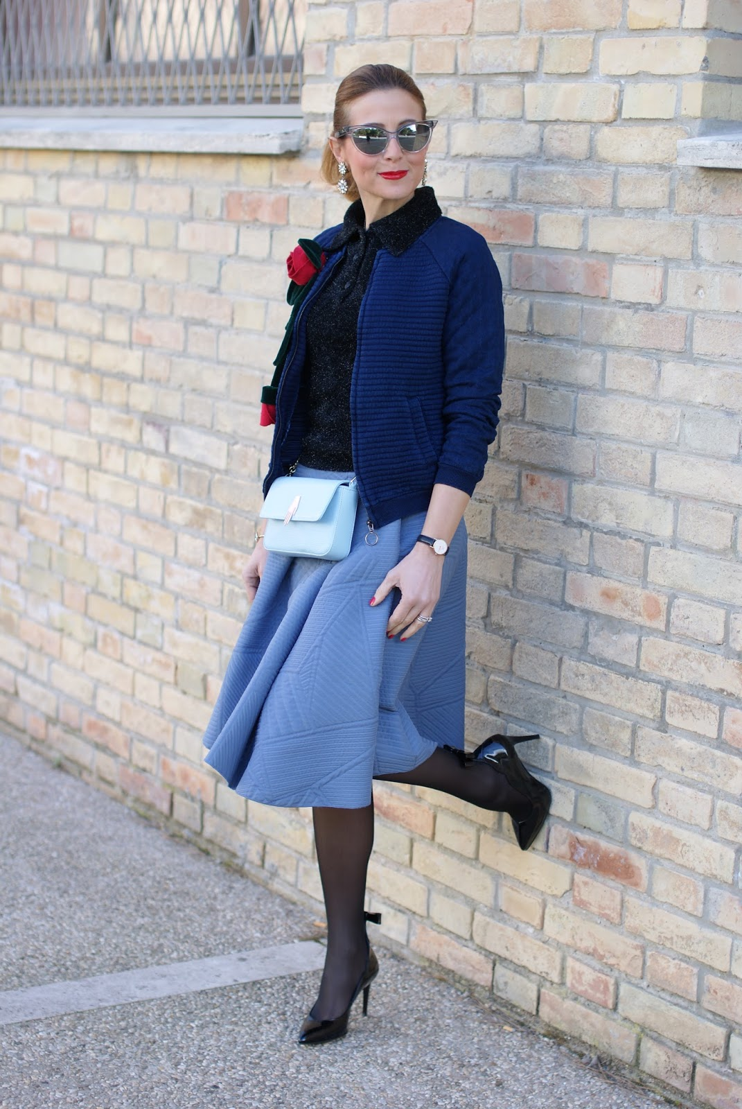 Valentine's day romantic Grease and fifties inspired outfit with bomber jacket, asymmetrical midi skirt, Sergio Amaranti shoes on Fashion and Cookies fashion blog, fashion blogger style