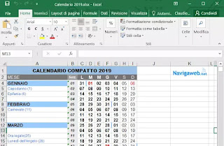 Calendario 2020 Con Festivita Da Stampare.Calendario 2020 Scrivibile