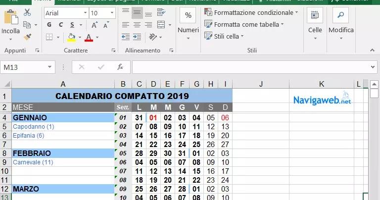 Calendario Appunti Da Stampare.Calendario 2019 Da Scaricare Stampare E Creare In Pdf O