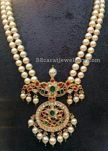 Large 2 Layer Pearls Set with Kundan Pendant