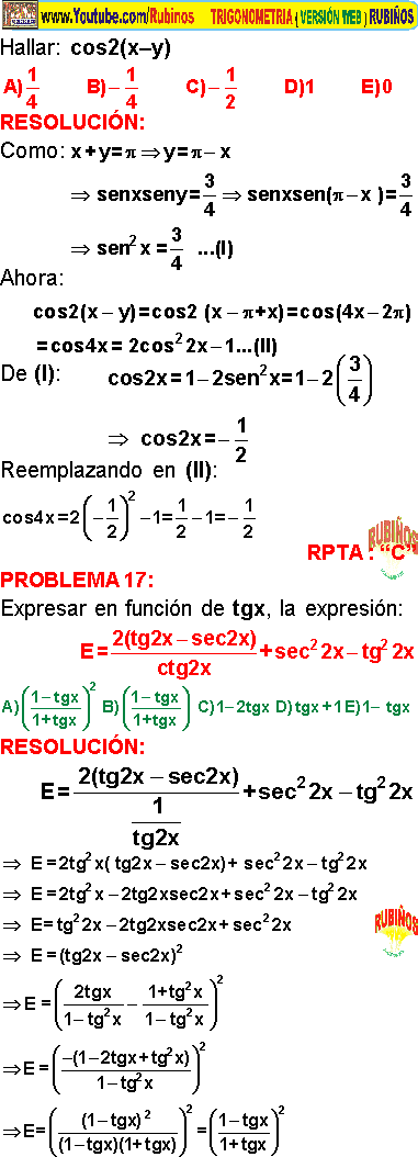 Identidades Del Angulo Doble Ejercicios Resueltos De Trigonometria Pdf