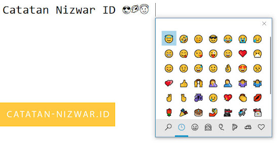 Menu Emoji diakses dengan Shortcut Keyboard - Catatan Nizwar ID