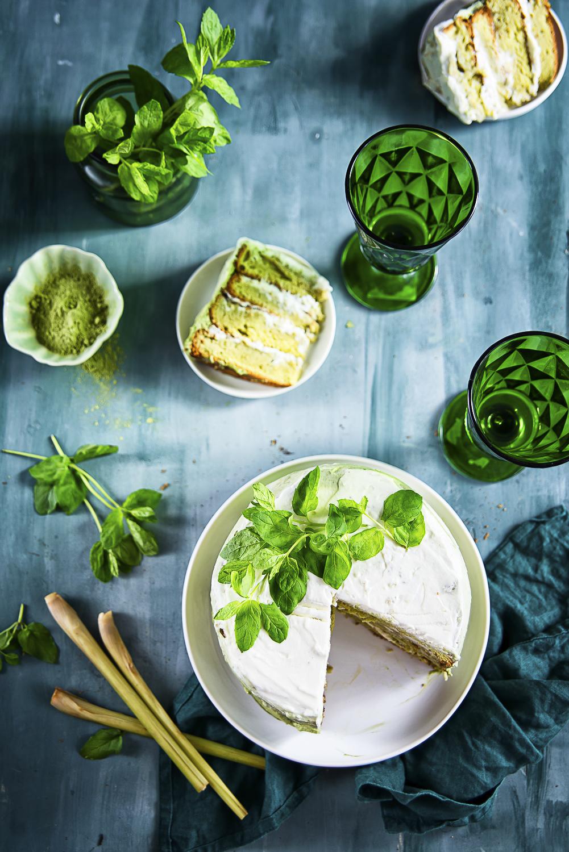 tołpa greeninspiracje- Zielony torcik ombre z trawą cytrynową, miętą i zieloną herbatą
