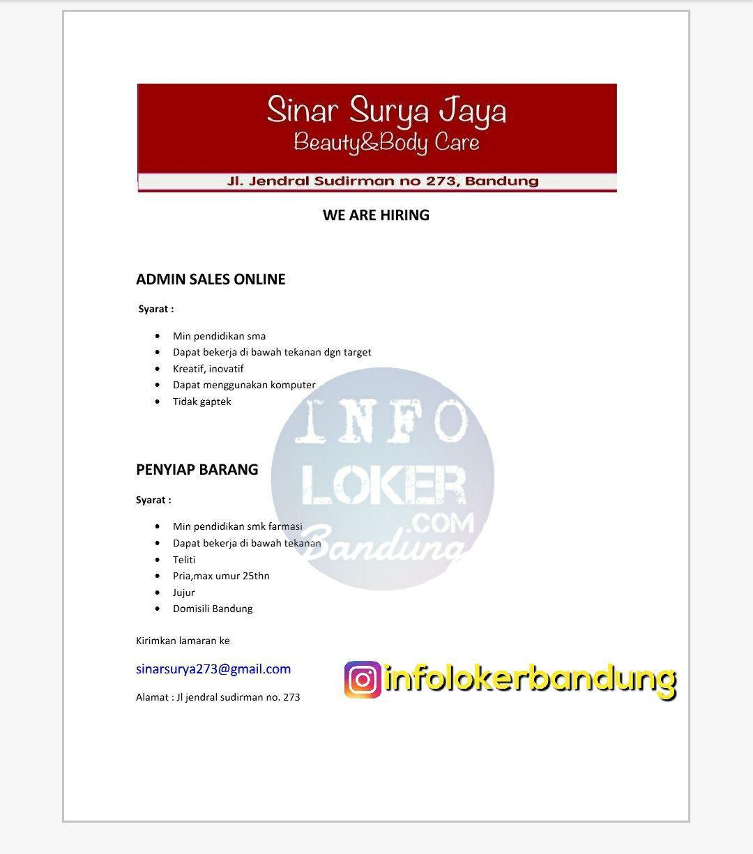 Lowongan Kerja Sinar Surya Jaya Bandung November 2017 width=