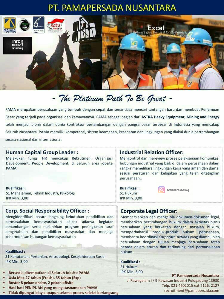 Lowongan Kerja PT. Pamapersada Nusantara Januari 2017