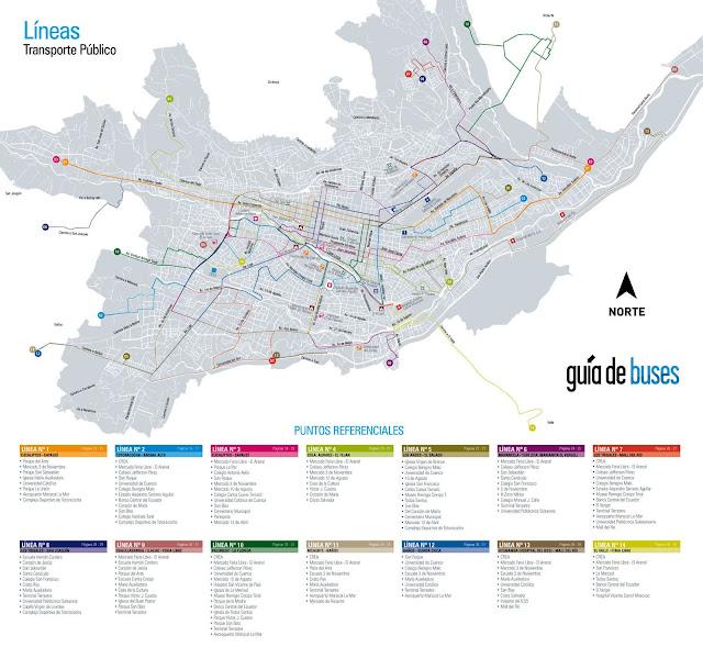 Mapa de Cuenca, rotas de ônibus