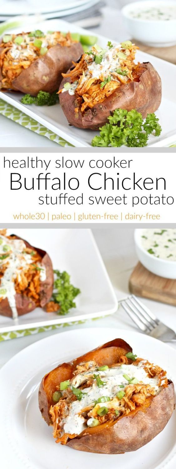 A hearty and healthy, whole30-friendly, slow cooker buffalo chicken that's shredded and stuffed inside of a perfectly baked or grill sweet potato. A recipe for all you buffalo chicken fans.
