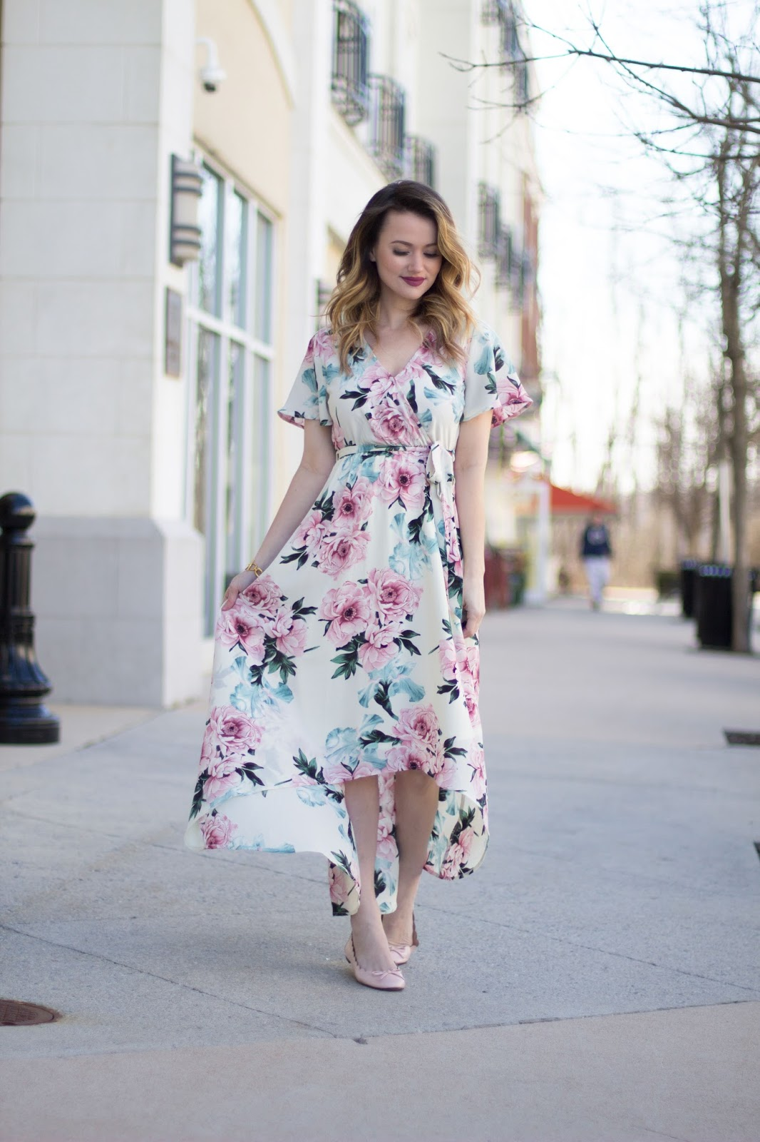 hi-low spring floral dress