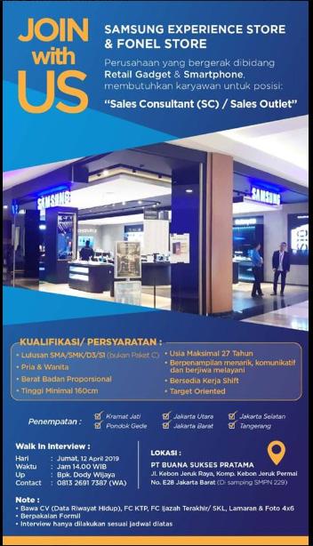 Lowongan Kerja Samsung Experience Store Jakarta