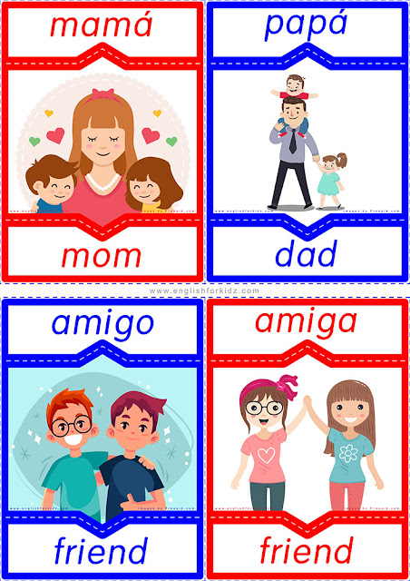 English Spanish flashcards, genders of Spanish nouns