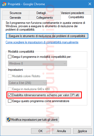 Disabilita valori DPI alti Google Chrome