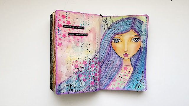 whimsical mixed media girl art journal page