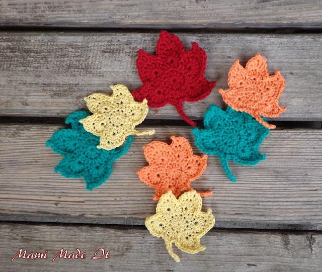 Crochet leaves - Häkelblätter