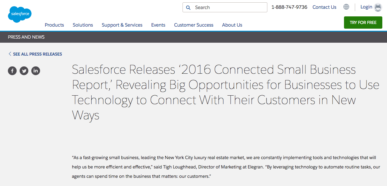 Tigh Loughhead features in Salesforce Press Release about the 2016 Connected Small Business Report